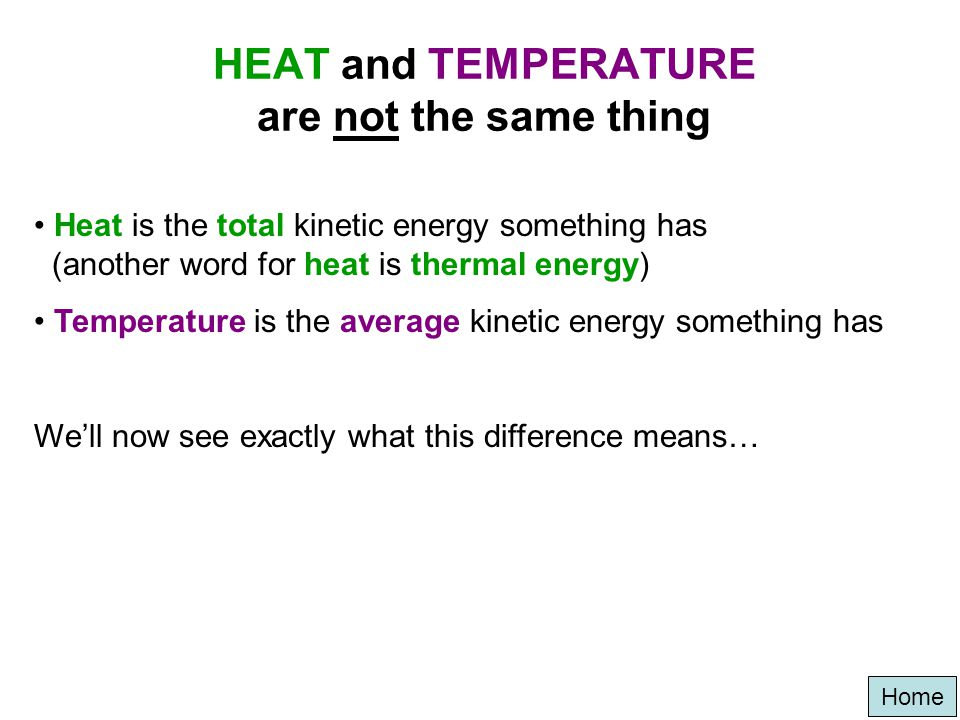 Home Heat/temperature is just a measurement of how much kinetic (vibrating) energy something has HH O HH O Low energy High energy 90 80 70 60 50 40 30