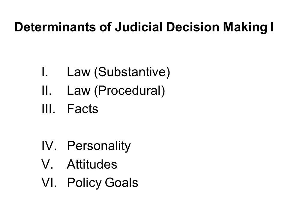 Determinants of Judicial Decision Making I I.Law (Substantive) II.Law (Procedural) III.Facts IV.Personality V.Attitudes VI.Policy Goals