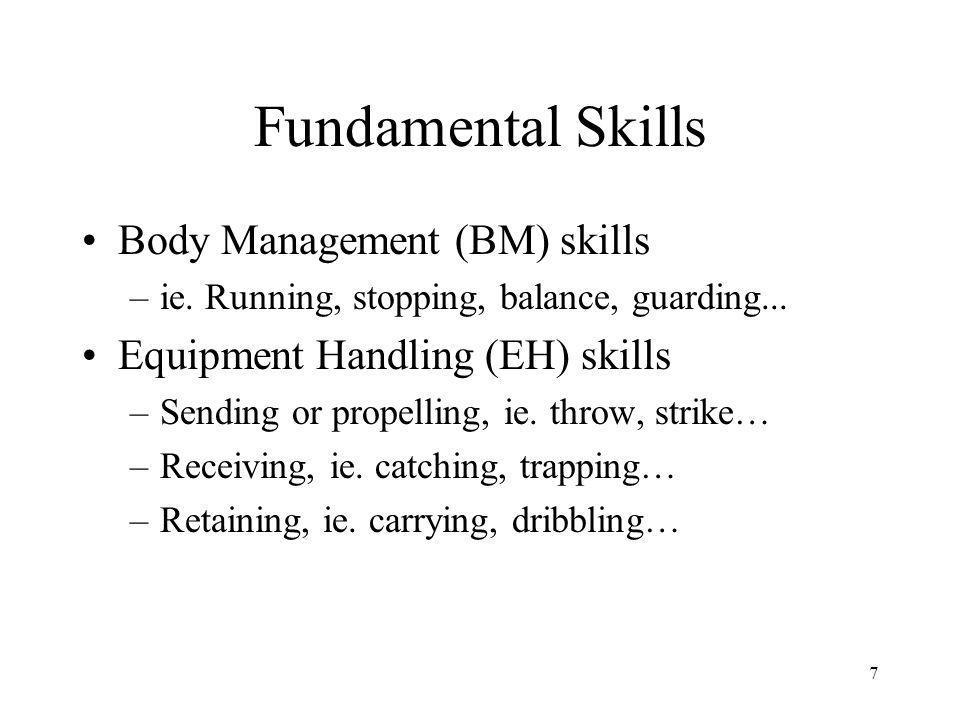 7 Fundamental Skills Body Management (BM) skills –ie.
