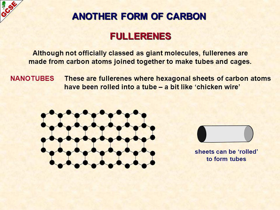 ANOTHER FORM OF CARBON FULLERENES Although not officially classed as giant molecules, fullerenes are made from carbon atoms joined together to make tu