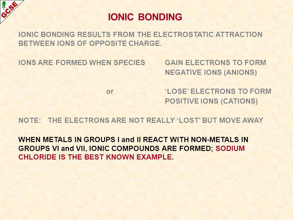 IONIC BONDING IONIC BONDING RESULTS FROM THE ELECTROSTATIC ATTRACTION BETWEEN IONS OF OPPOSITE CHARGE. IONS ARE FORMED WHEN SPECIESGAIN ELECTRONS TO F