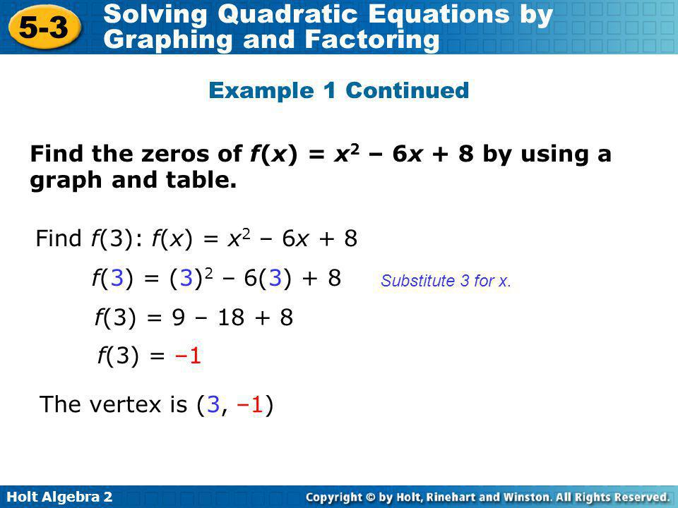Holt Algebra 2 5-3 Solving Quadratic Equations by Graphing and Factoring x12345 f(x)f(x)30–1–103 Plot the vertex and the y-intercept.