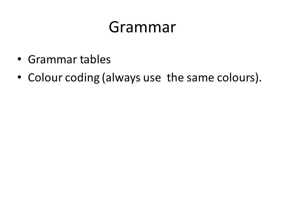 Grammar Grammar tables Colour coding (always use the same colours).