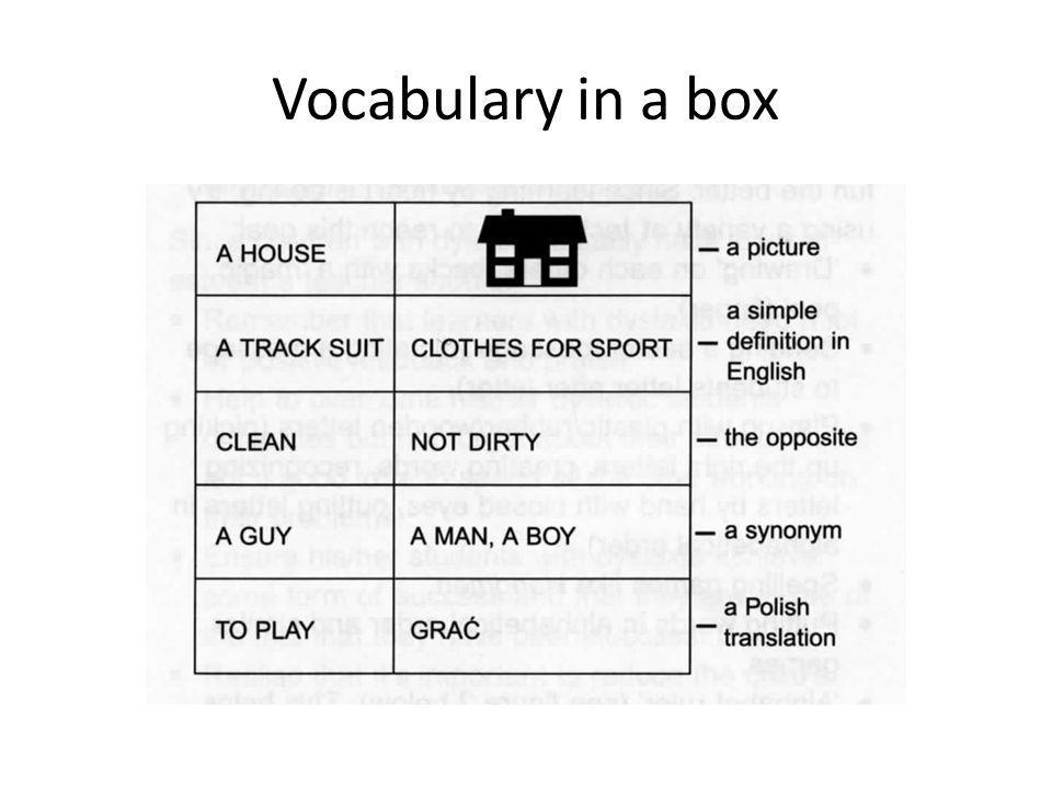 Vocabulary in a box