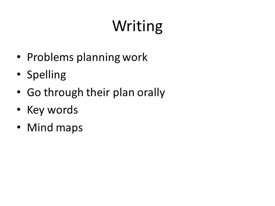 Writing Problems planning work Spelling Go through their plan orally Key words Mind maps