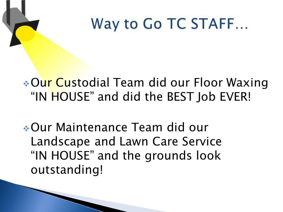 Our Custodial Team did our Floor Waxing IN HOUSE and did the BEST Job EVER.