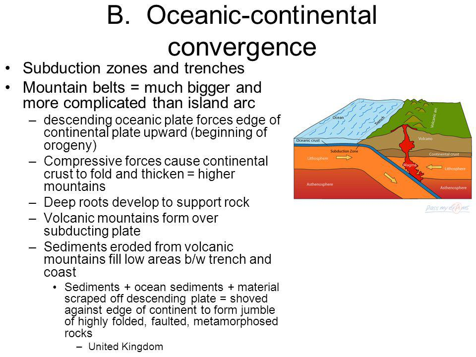 B. Oceanic-continental convergence Subduction zones and trenches Mountain belts = much bigger and more complicated than island arc –descending oceanic