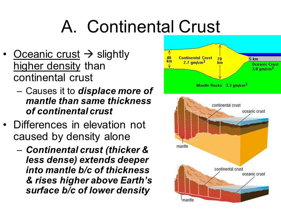 A. Continental Crust Oceanic crust slightly higher density than continental crust –Causes it to displace more of mantle than same thickness of contine