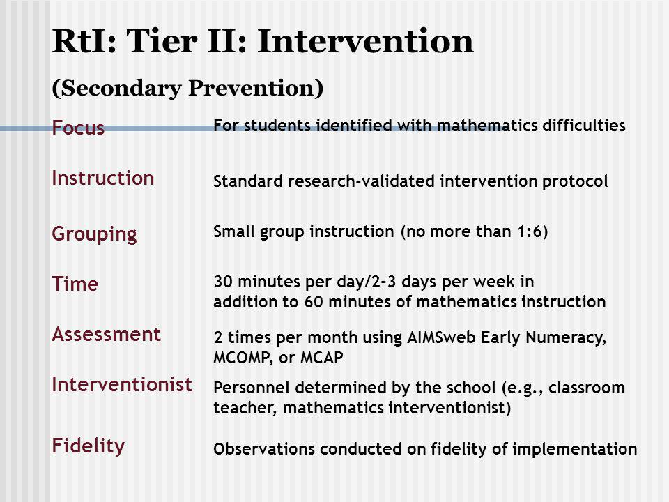 Tier II/III Intervention Instruction http://dww.ed.gov/practice/?T_ID=28&P_I D=71 http://dww.ed.gov/practice/?T_ID=28&P_I D=71 The multimedia overview