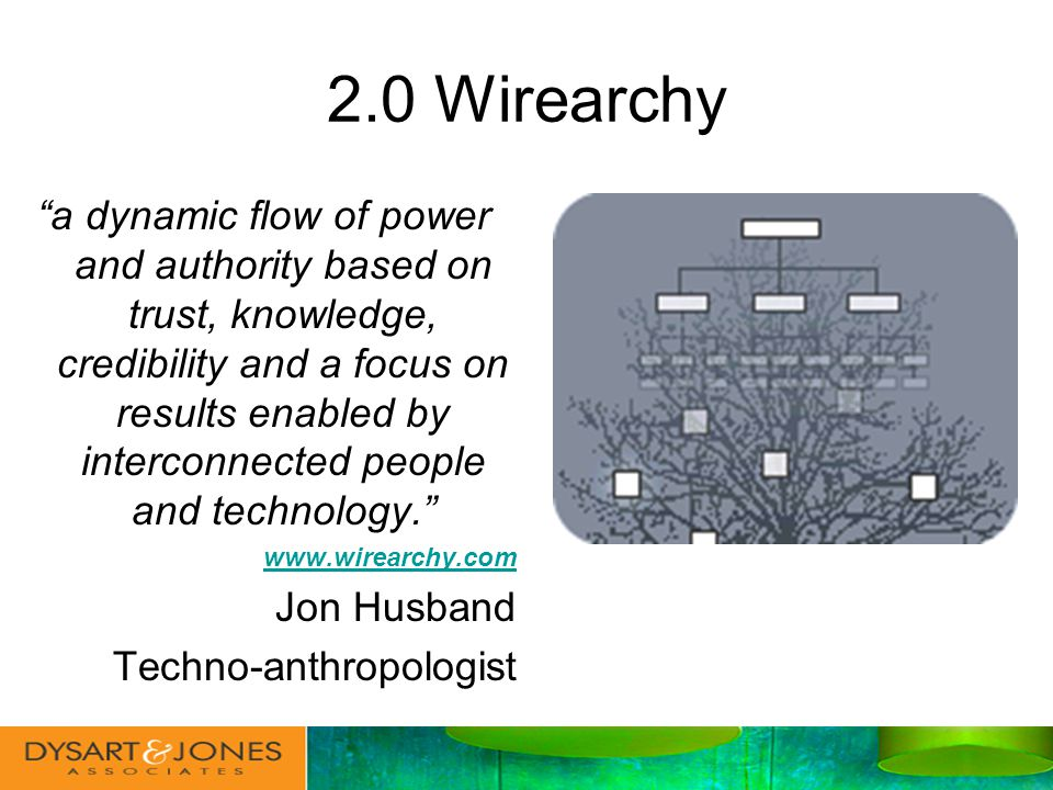 2.0 Wirearchy a dynamic flow of power and authority based on trust, knowledge, credibility and a focus on results enabled by interconnected people and technology.