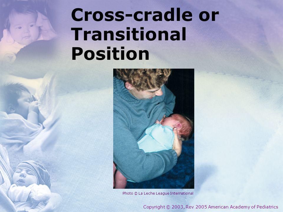 Cross-cradle or Transitional Position Copyright © 2003, Rev 2005 American Academy of Pediatrics Photo © La Leche League International