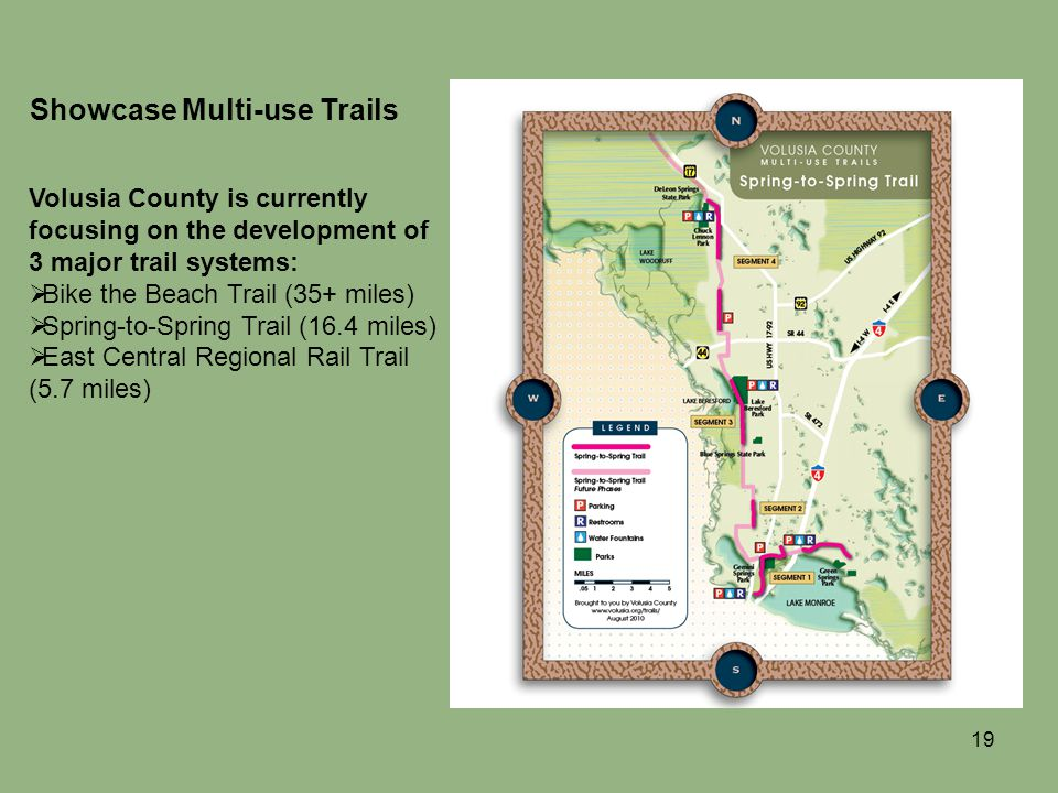 19 Showcase Multi-use Trails Volusia County is currently focusing on the development of 3 major trail systems: Bike the Beach Trail (35+ miles) Spring-to-Spring Trail (16.4 miles) East Central Regional Rail Trail (5.7 miles)