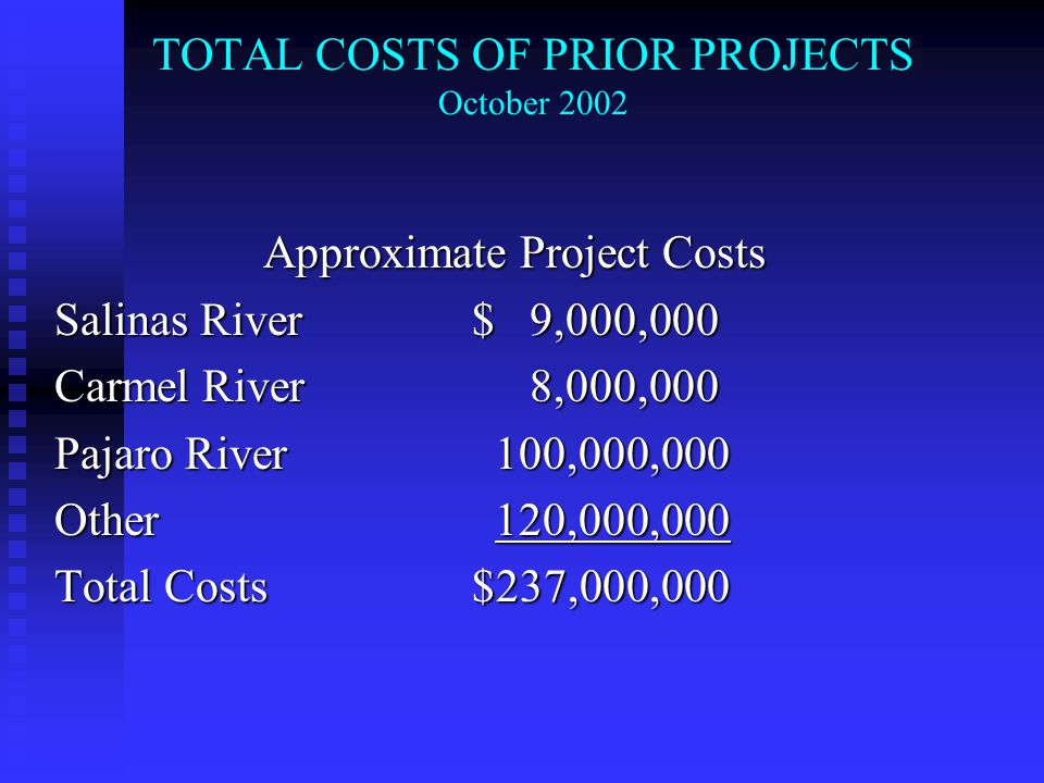 TOTAL COSTS OF PRIOR PROJECTS October 2002 Approximate Project Costs Salinas River $ 9,000,000 Carmel River 8,000,000 Pajaro River 100,000,000 Other 120,000,000 Total Costs $237,000,000