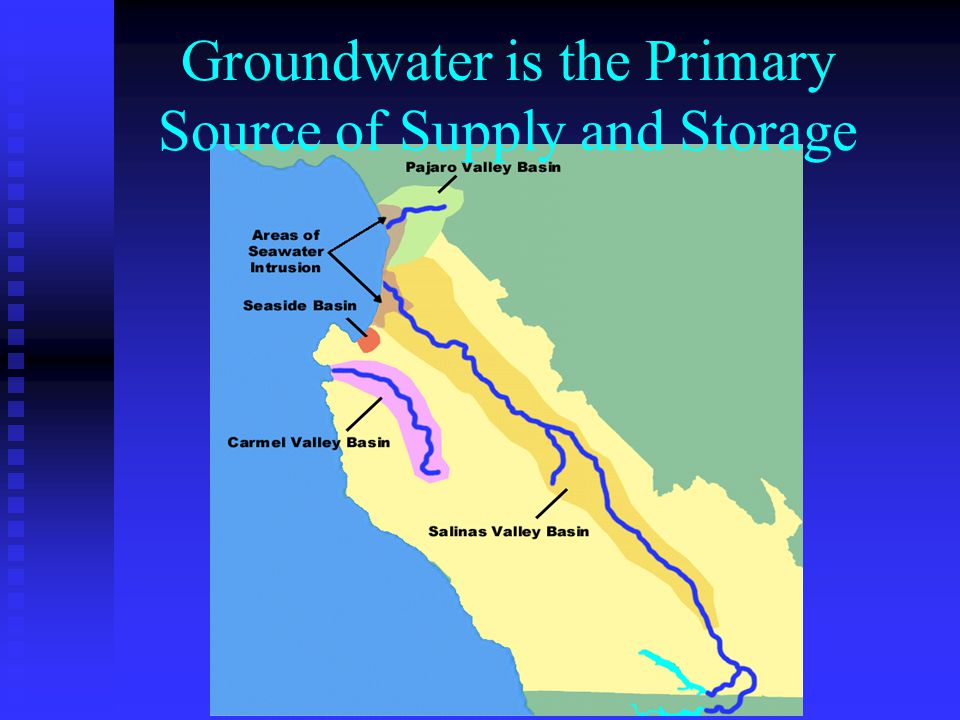 ReservoirReleases95% Ground Water Conservation 5% Monterey County: Current Developed Surface Water Recycled Water Desalination