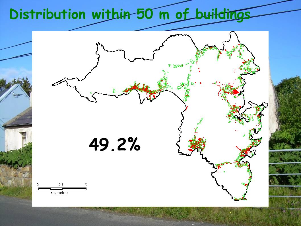 Distribution within 50 m of buildings 49.2%