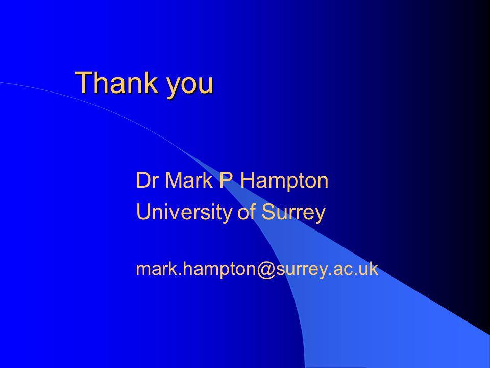 Thank you Dr Mark P Hampton University of Surrey mark.hampton@surrey.ac.uk