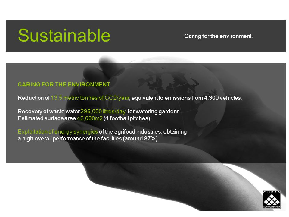 Sustainable CARING FOR THE ENVIRONMENT Reduction of 13.5 metric tonnes of CO2/year, equivalent to emissions from 4,300 vehicles.