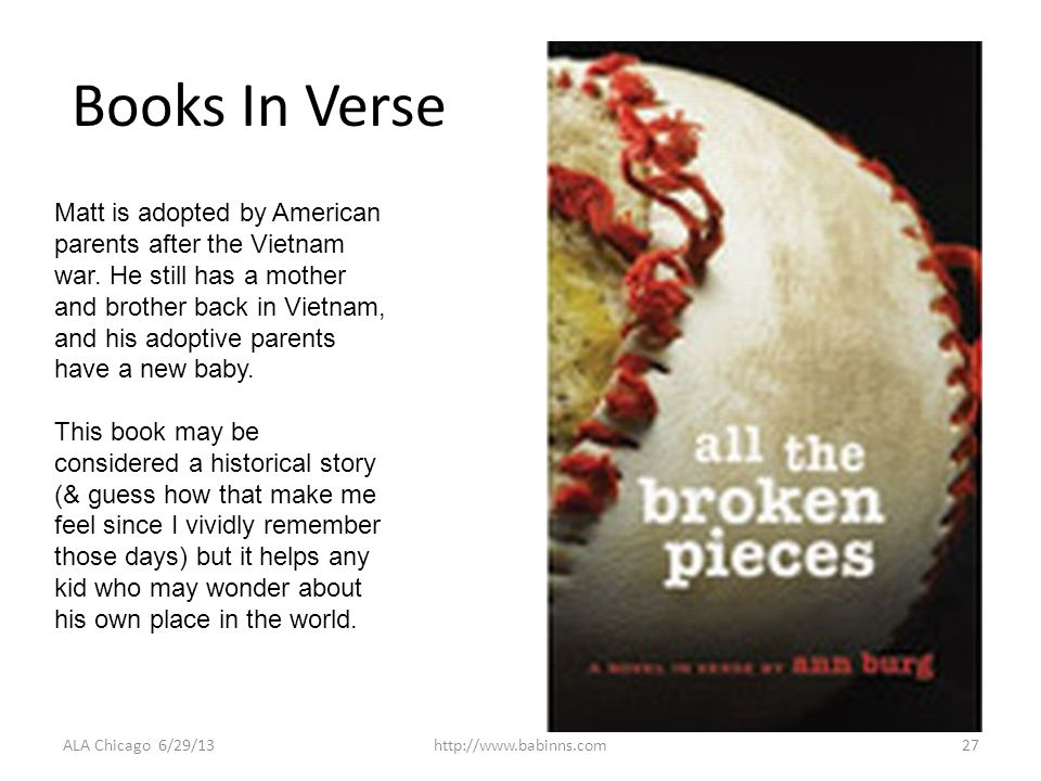 Books In Verse ALA Chicago 6/29/13http://www.babinns.com27 Matt is adopted by American parents after the Vietnam war.