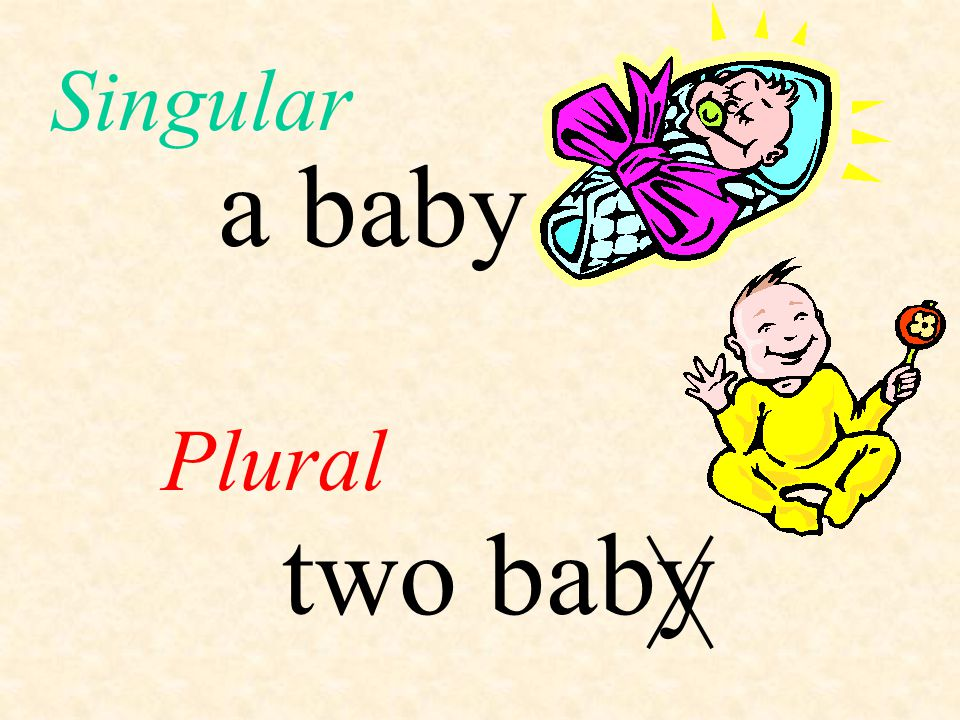 a baby Plural Singular two baby
