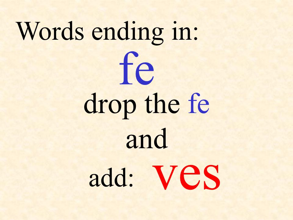 fe add: Words ending in: ves drop the fe and