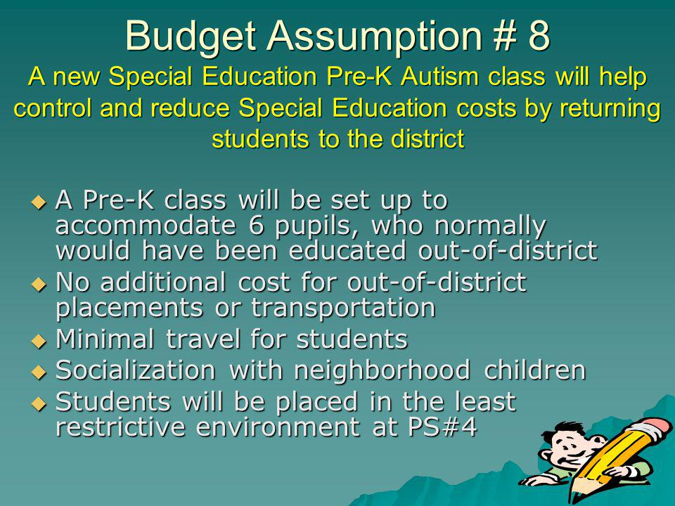 Budget Assumption # 8 A new Special Education Pre-K Autism class will help control and reduce Special Education costs by returning students to the district A Pre-K class will be set up to accommodate 6 pupils, who normally would have been educated out-of-district A Pre-K class will be set up to accommodate 6 pupils, who normally would have been educated out-of-district No additional cost for out-of-district placements or transportation No additional cost for out-of-district placements or transportation Minimal travel for students Minimal travel for students Socialization with neighborhood children Socialization with neighborhood children Students will be placed in the least restrictive environment at PS#4 Students will be placed in the least restrictive environment at PS#4
