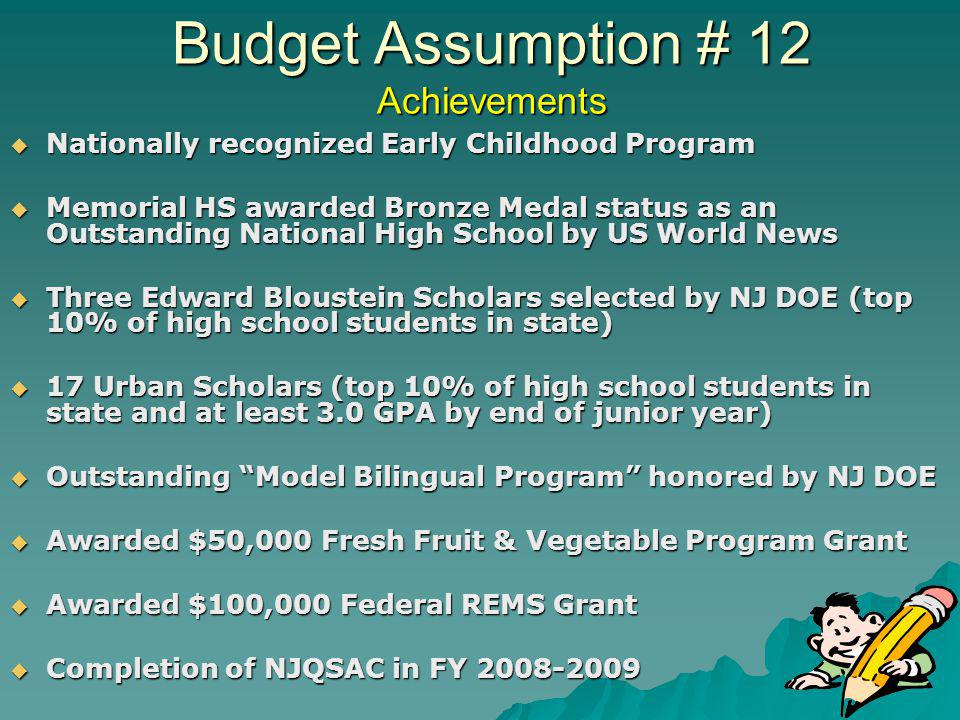 Budget Assumption # 12 Achievements Nationally recognized Early Childhood Program Nationally recognized Early Childhood Program Memorial HS awarded Bronze Medal status as an Outstanding National High School by US World News Memorial HS awarded Bronze Medal status as an Outstanding National High School by US World News Three Edward Bloustein Scholars selected by NJ DOE (top 10% of high school students in state) Three Edward Bloustein Scholars selected by NJ DOE (top 10% of high school students in state) 17 Urban Scholars (top 10% of high school students in state and at least 3.0 GPA by end of junior year) 17 Urban Scholars (top 10% of high school students in state and at least 3.0 GPA by end of junior year) Outstanding Model Bilingual Program honored by NJ DOE Outstanding Model Bilingual Program honored by NJ DOE Awarded $50,000 Fresh Fruit & Vegetable Program Grant Awarded $50,000 Fresh Fruit & Vegetable Program Grant Awarded $100,000 Federal REMS Grant Awarded $100,000 Federal REMS Grant Completion of NJQSAC in FY 2008-2009 Completion of NJQSAC in FY 2008-2009