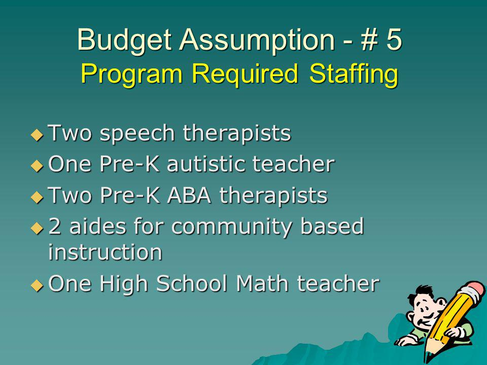 Budget Assumption - # 5 Program Required Staffing Two speech therapists Two speech therapists One Pre-K autistic teacher One Pre-K autistic teacher Two Pre-K ABA therapists Two Pre-K ABA therapists 2 aides for community based instruction 2 aides for community based instruction One High School Math teacher One High School Math teacher