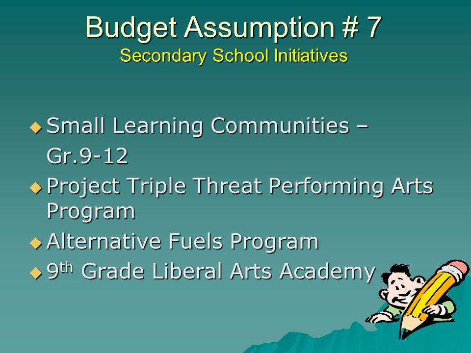 Budget Assumption # 7 Secondary School Initiatives Small Learning Communities – Small Learning Communities –Gr.9-12 Project Triple Threat Performing A