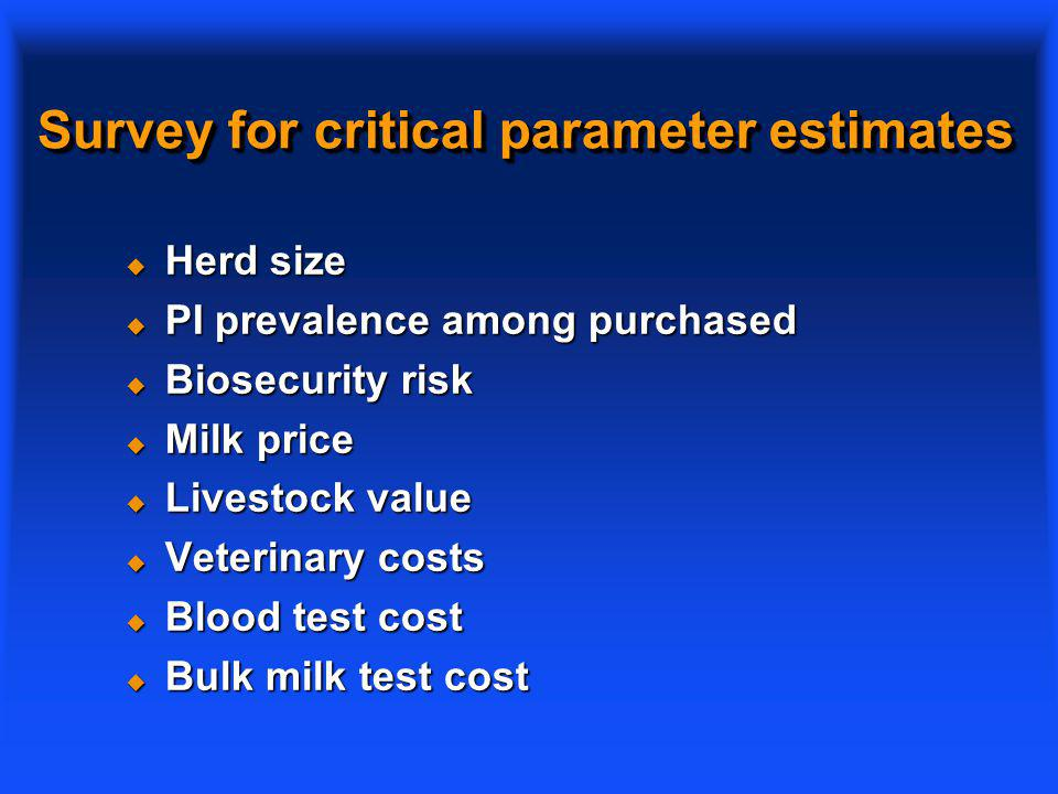 Survey for critical parameter estimates u Herd size u PI prevalence among purchased u Biosecurity risk u Milk price u Livestock value u Veterinary costs u Blood test cost u Bulk milk test cost