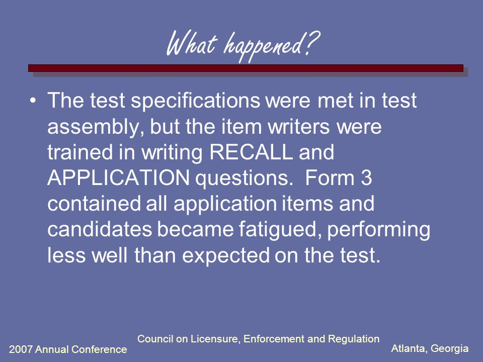 Atlanta, Georgia 2007 Annual Conference What happened? The test specifications were met in test assembly, but the item writers were trained in writing