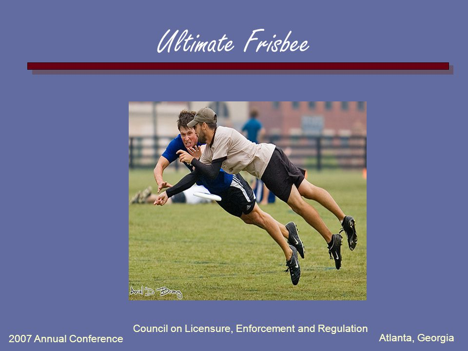 Atlanta, Georgia 2007 Annual Conference Ultimate Frisbee Council on Licensure, Enforcement and Regulation