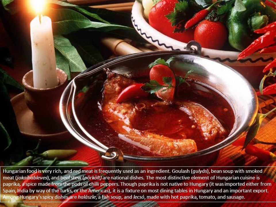 Hungarian food is very rich, and red meat is frequently used as an ingredient. Goulash (gulyás), bean soup with smoked meat (jokaibableves), and beef