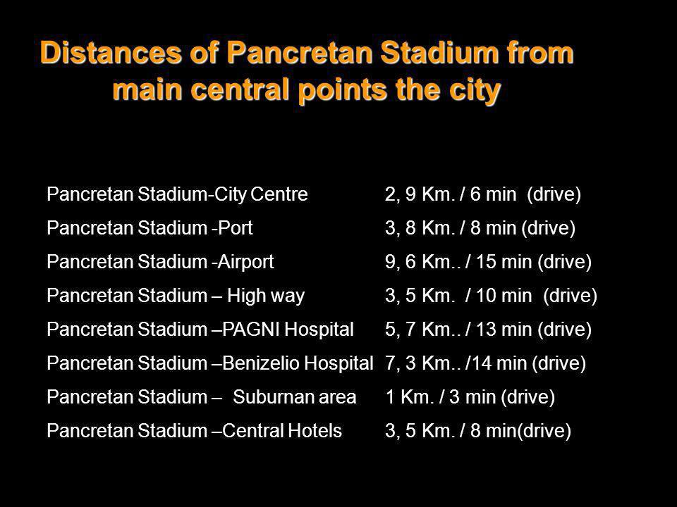 Pancretan Stadium-City Centre2, 9 Km. / 6 min (drive) Pancretan Stadium -Port3, 8 Km. / 8 min (drive) Pancretan Stadium -Airport9, 6 Km.. / 15 min (dr