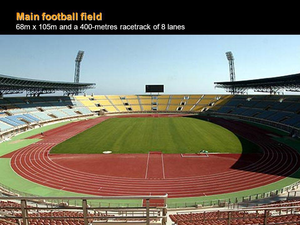 Main football field 68m x 105m and a 400-metres racetrack of 8 lanes