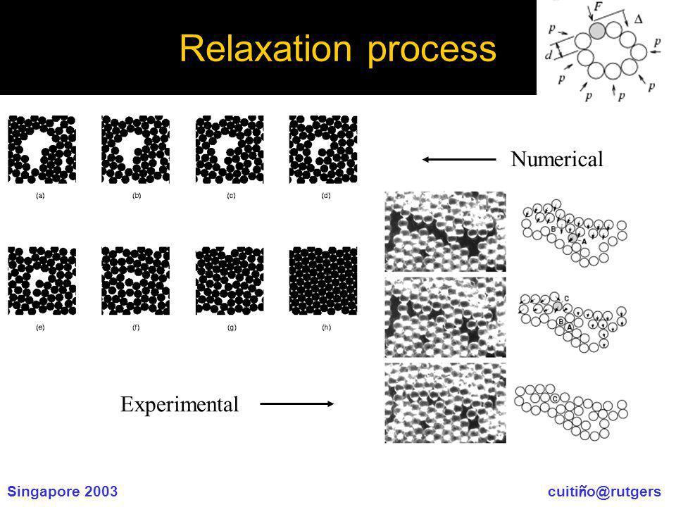 Singapore 2003 cuiti ñ o@rutgers Relaxation process Numerical Experimental