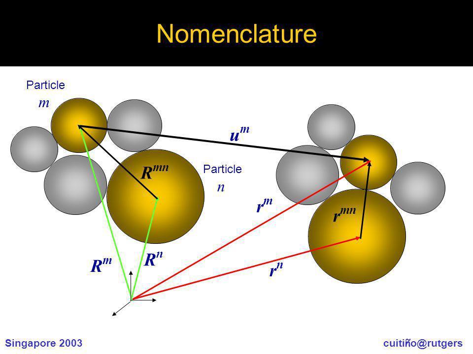 Singapore 2003 cuiti ñ o@rutgers Nomenclature umum rmrm rnrn r mn RmRm RnRn R mn Particle m Particle n