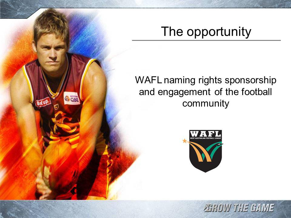 The opportunity WAFL naming rights sponsorship and engagement of the football community