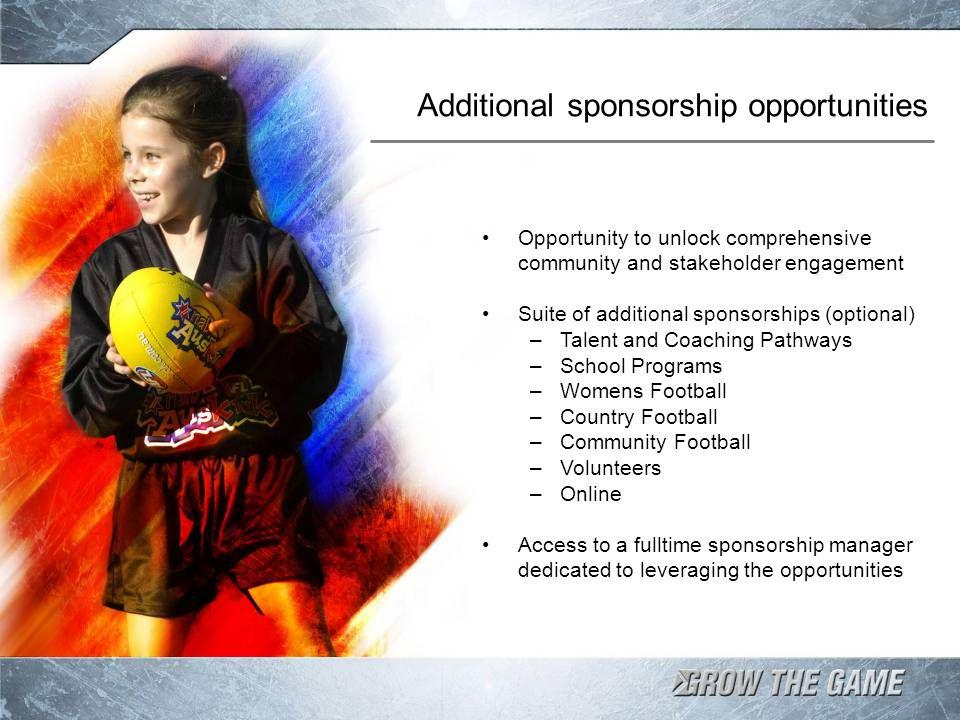 Additional sponsorship opportunities Opportunity to unlock comprehensive community and stakeholder engagement Suite of additional sponsorships (optional) –Talent and Coaching Pathways –School Programs –Womens Football –Country Football –Community Football –Volunteers –Online Access to a fulltime sponsorship manager dedicated to leveraging the opportunities