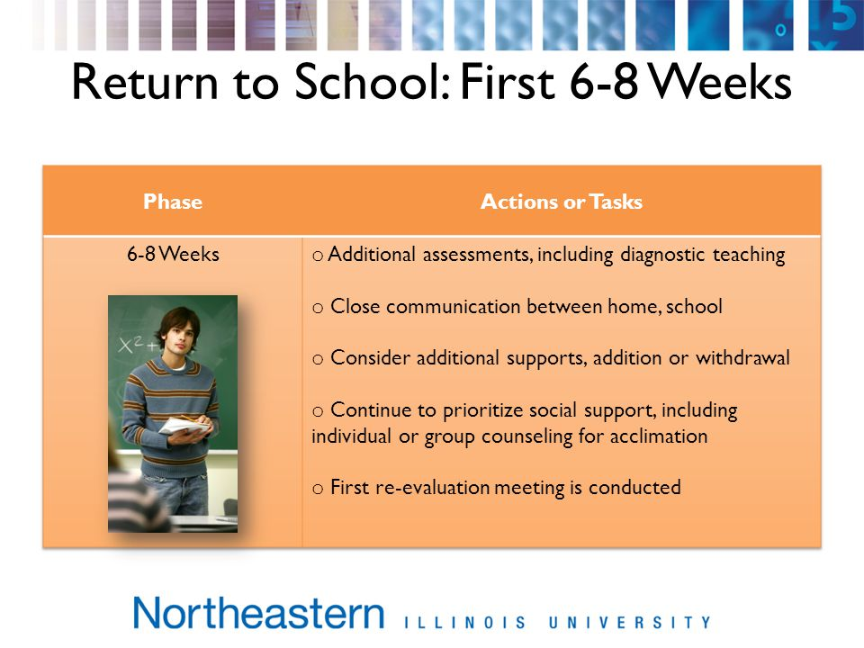Return to School: First 6-8 Weeks