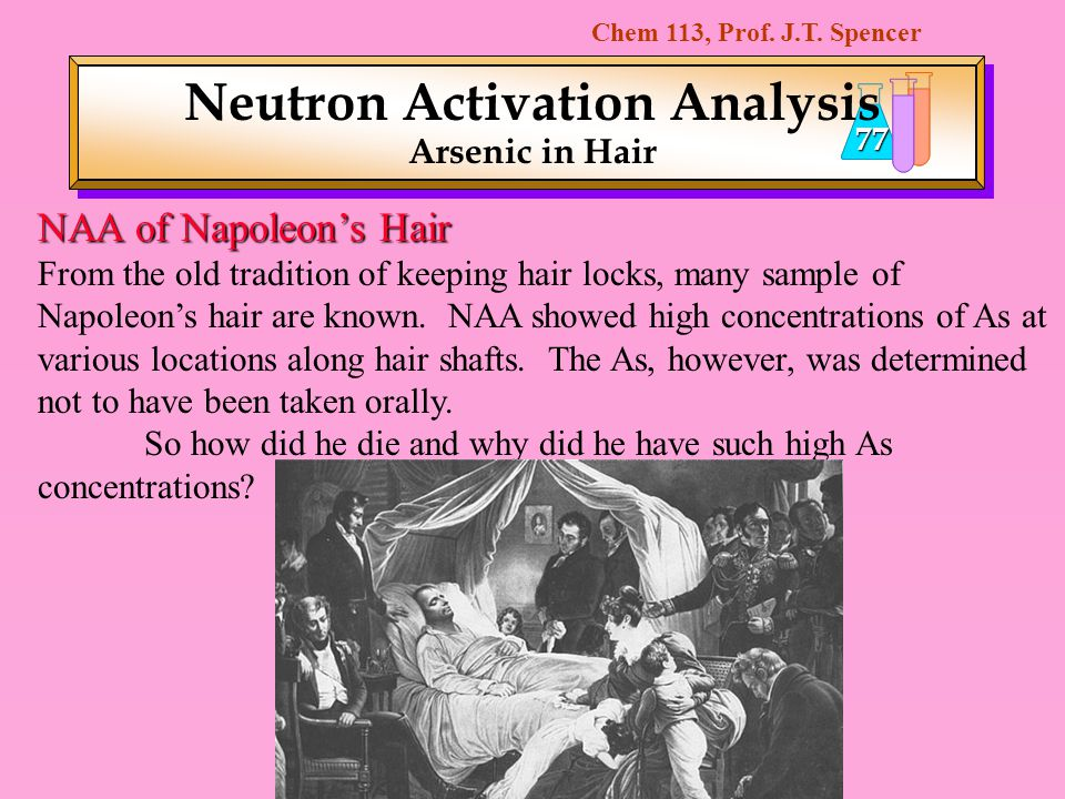 Chem 113, Prof. J.T. Spencer 77 NAA of Napoleons Hair From the old tradition of keeping hair locks, many sample of Napoleons hair are known. NAA showe