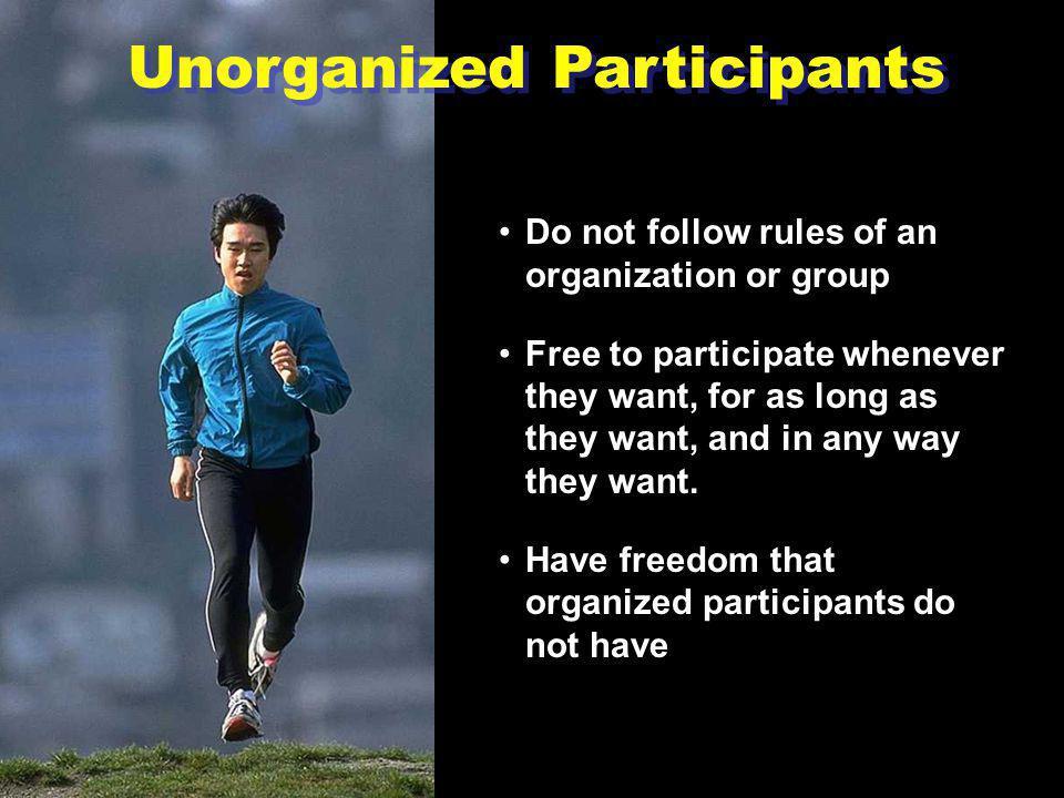 Consumers of Sports Include: Unorganized participantsUnorganized participants Organized participantsOrganized participants SpectatorsSpectators Sponso