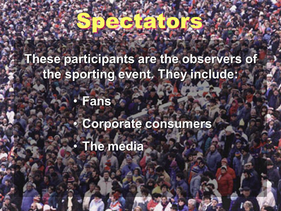 Organized Participants Play sports that have rules and are controlled by groups or sanctioning bodiesPlay sports that have rules and are controlled by groups or sanctioning bodies Cannot play any way they want or at any timeCannot play any way they want or at any time Usually play in amateur or professional eventsUsually play in amateur or professional events Amateur athletes are: Not paid to playNot paid to play Regulated on the local, state, or national levelRegulated on the local, state, or national level Professional athletes are: PaidPlaying the game is often their occupation.PaidPlaying the game is often their occupation.