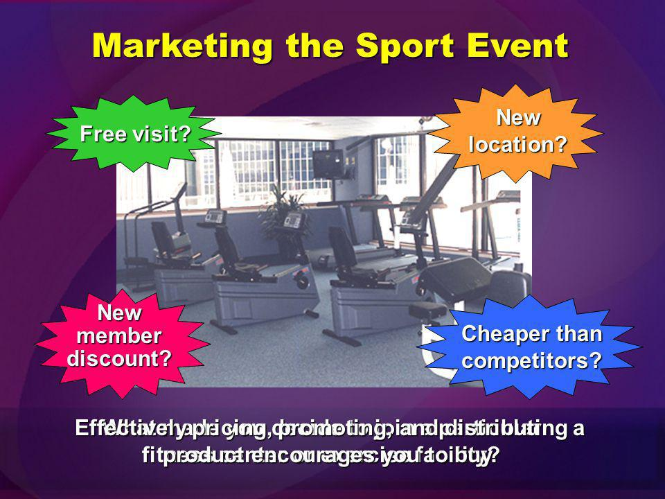 The sports marketing industry is divided into the following segments: Marketing of the actual sport eventMarketing of the actual sport event Marketing of sports goods/services to consumers of the sportMarketing of sports goods/services to consumers of the sport Marketing of other consumer and individual goods/services through sportsMarketing of other consumer and individual goods/services through sports Marketing of products to sporting eventsMarketing of products to sporting events