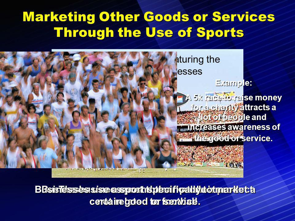 Marketing of Sports Goods and Services Participants in sporting events buy a variety of products.Participants in sporting events buy a variety of products.