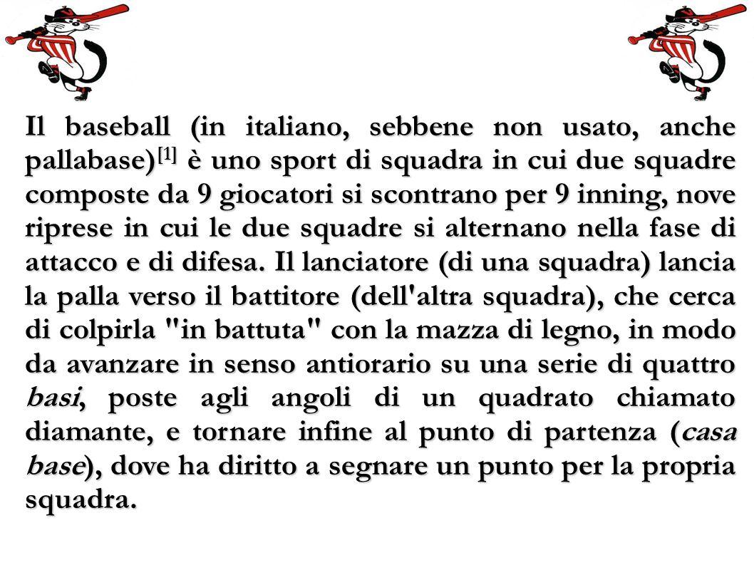 Il baseball (in italiano, sebbene non usato, anche pallabase) [1] è uno sport di squadra in cui due squadre composte da 9 giocatori si scontrano per 9 inning, nove riprese in cui le due squadre si alternano nella fase di attacco e di difesa.