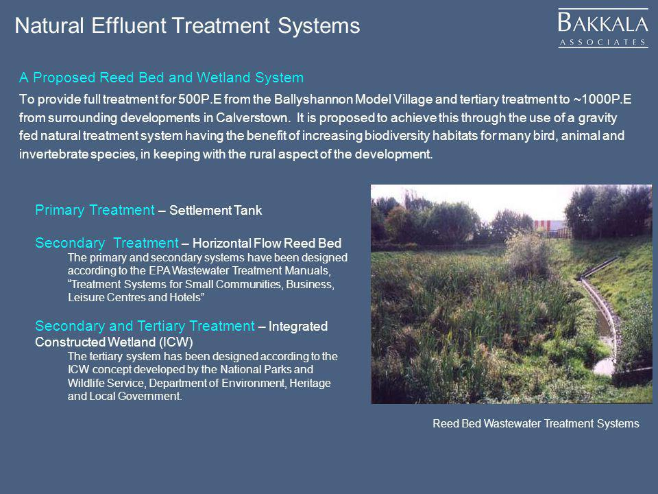 Natural Effluent Treatment Systems A Proposed Reed Bed and Wetland System To provide full treatment for 500P.E from the Ballyshannon Model Village and
