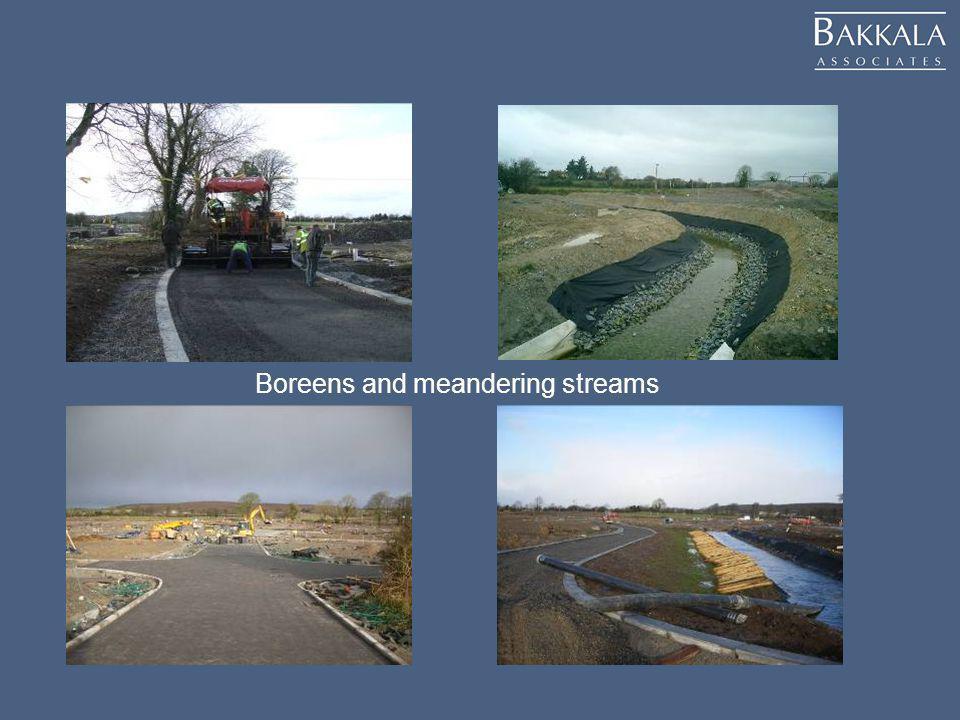 Boreens and meandering streams