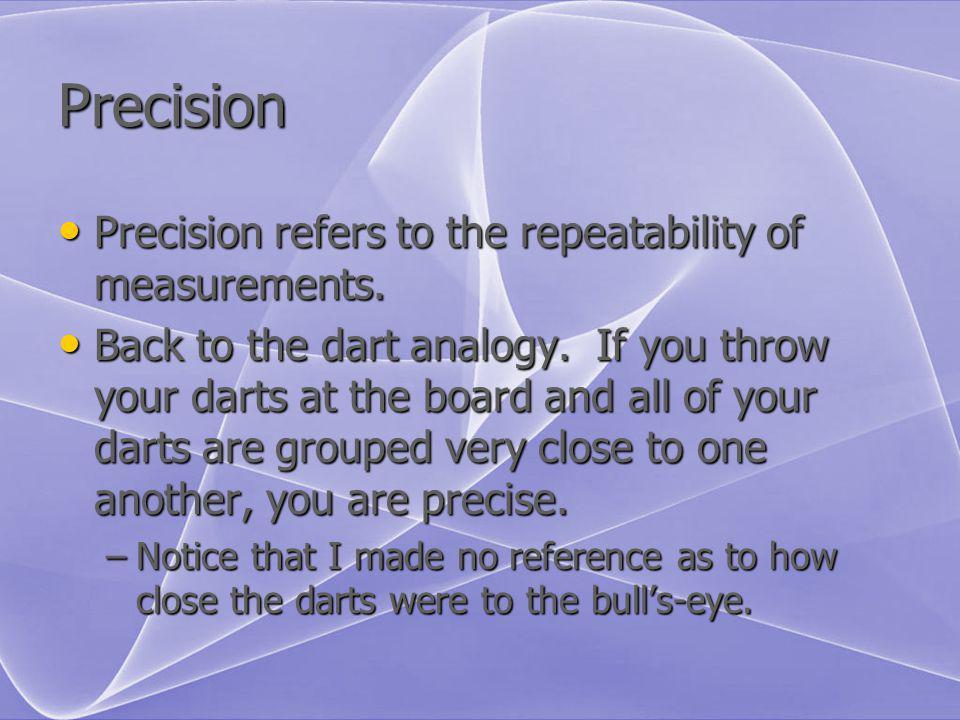 Precision Precision refers to the repeatability of measurements. Precision refers to the repeatability of measurements. Back to the dart analogy. If y