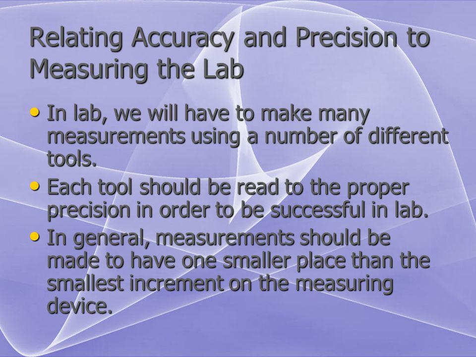 Relating Accuracy and Precision to Measuring the Lab In lab, we will have to make many measurements using a number of different tools. In lab, we will