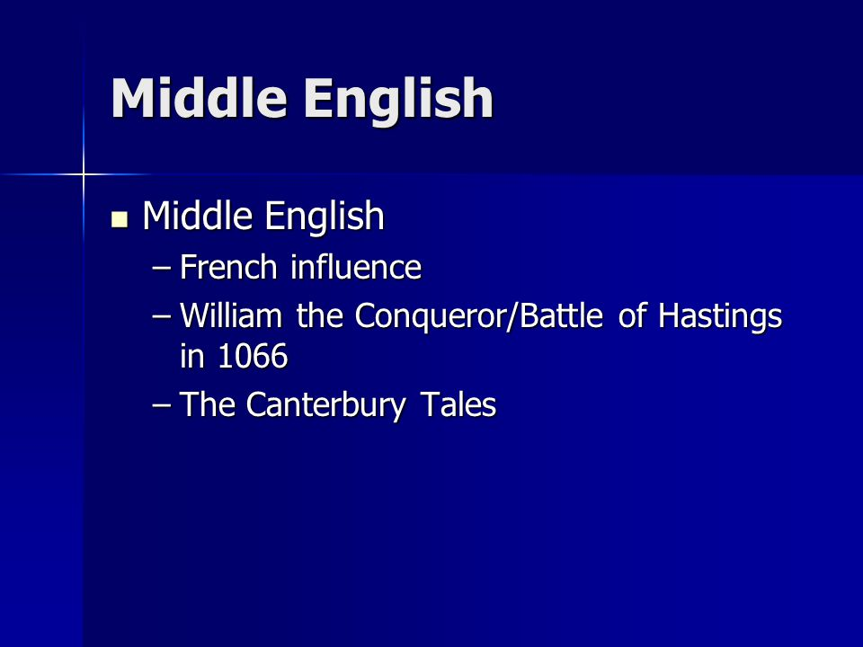 Middle English Middle English Middle English –French influence –William the Conqueror/Battle of Hastings in 1066 –The Canterbury Tales